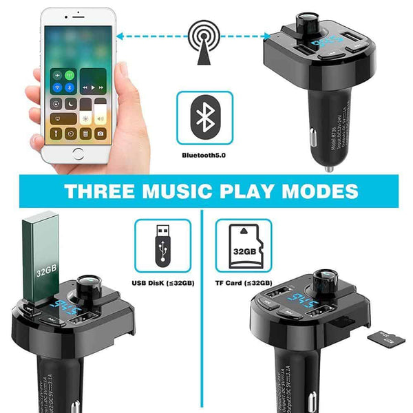 bluetooth Car kit Dual USB Car Charger 3.6A 2.1A   LED FM Transmitter 3.6A 2 Port USB MP3 music Player for iphone all mobile