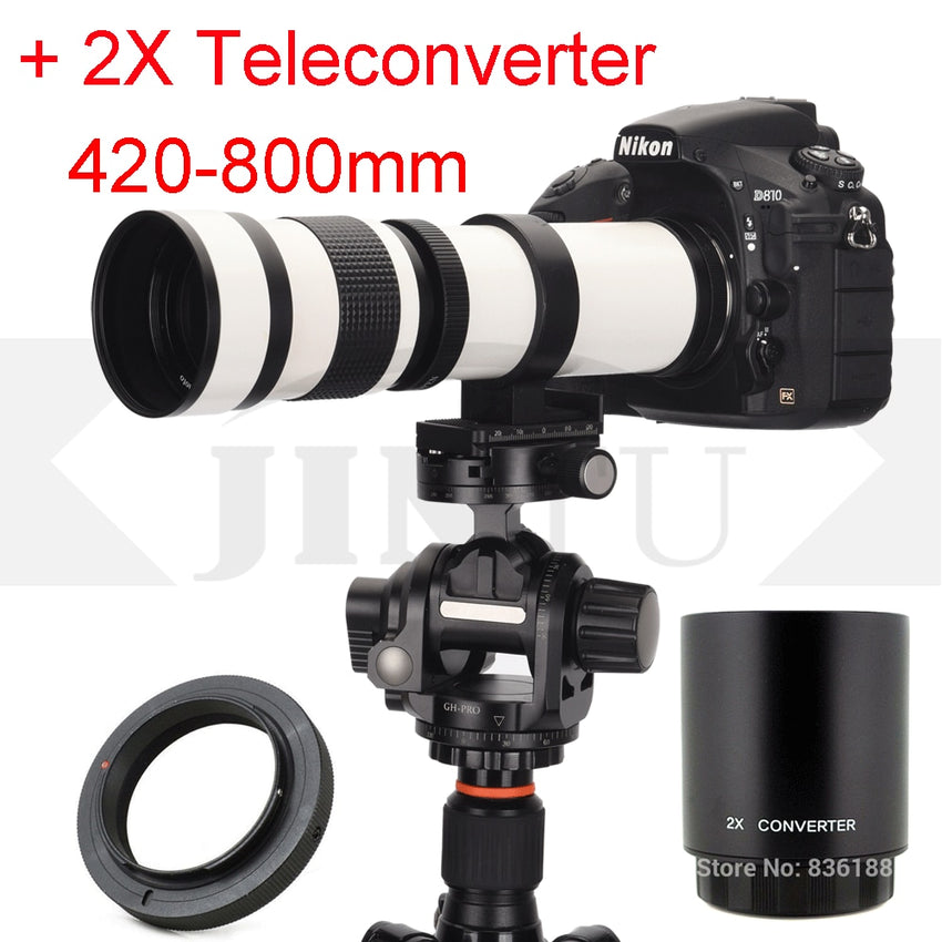 JINTU White 420-800mm Telephoto Lens +2x teleconverter 420-1600mm for Nikon D40 D60 D3500 D3100 D3200 D3300 D3400 D5500 D5600 D4