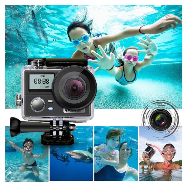WiFi Ultra HD Action Camera 4K 30fps Dual Screen 16MP Sport Camera Go Waterproof Pro Sports Cam Helmet Video Recording Camera