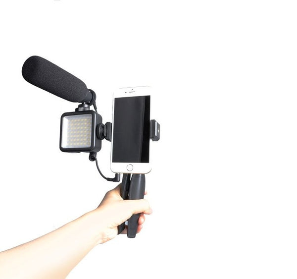 Professional podcast microphone kit Vlog With LED Light Camera Microphone Smart phone 3.5mm Tripod for Canon Sony Nikon Phone PC