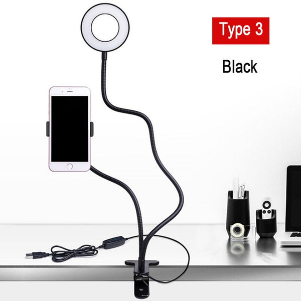Dimmable LED Selfie Ring Light Camera Phone USB ring lamp Photography Fill Light with Phone Holder Stand For Makeup Live Stream