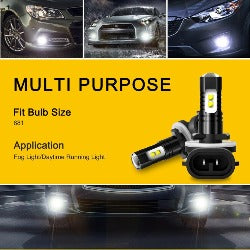 2PCS H27W/2 Led H27 881 Led Bulb 2400LM 6500K White 50w Car Fog Light Front Head Driving Running Lamp Auto 12V H27W/2 H27W - Pickandshop