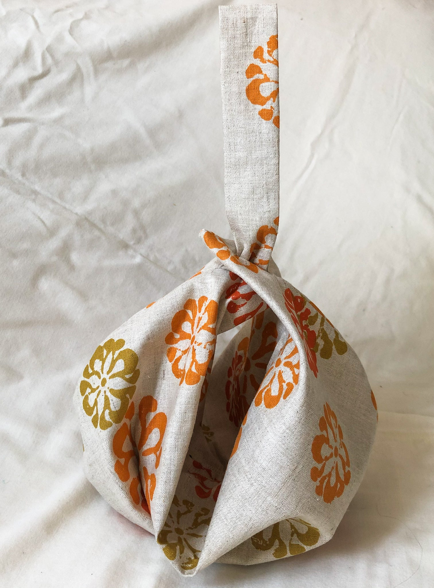 Handmade Upcycled Canvas Printed Pumpkin Pouch