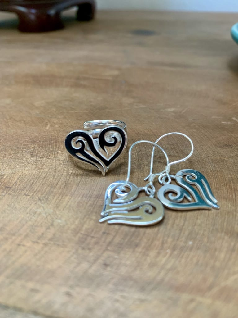 Heart Earrings & Ring Silver