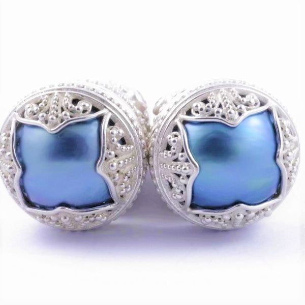 Mabi Blue Pearl Goddess Earrings