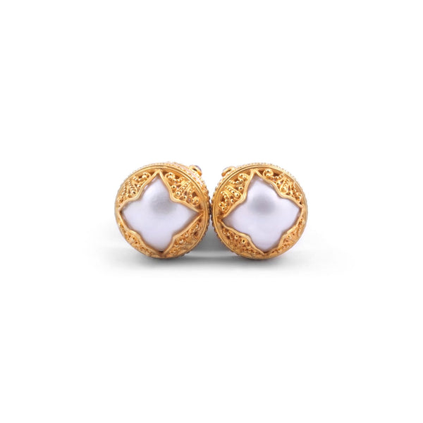 Mabi White Pearl Goddess Earrings