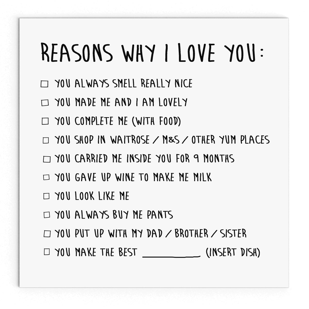 Reasons why I love you - Naughty Little Cards