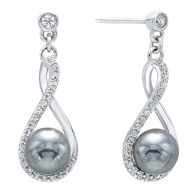 Shell Pearl Drop Earrings in Sterling Silver