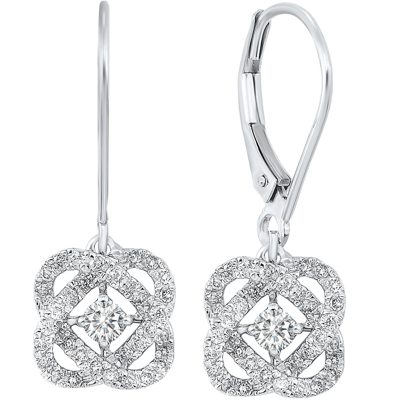 Love's Crossing Diamond Drop Earrings in 14K White Gold (1/4 ct. tw.)