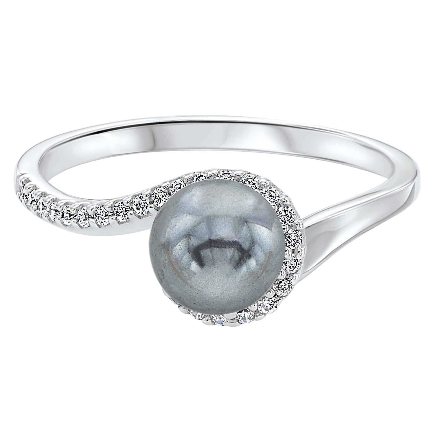 Twisting Shell Pearl Ring in Sterling Silver