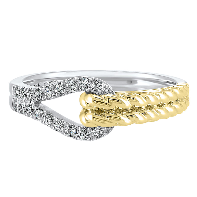 Interlocking Diamond Ring in 14K Two-Tone Gold (1/6 ct. tw.)
