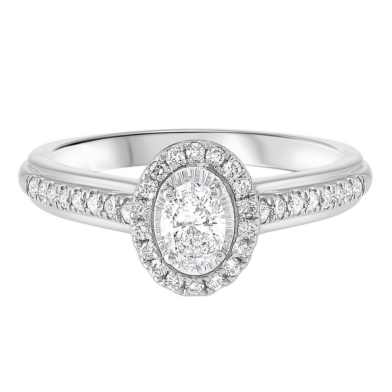 14K White Gold Tru-Reflections Oval Halo Prong Ring (3/5 ct. tw.)