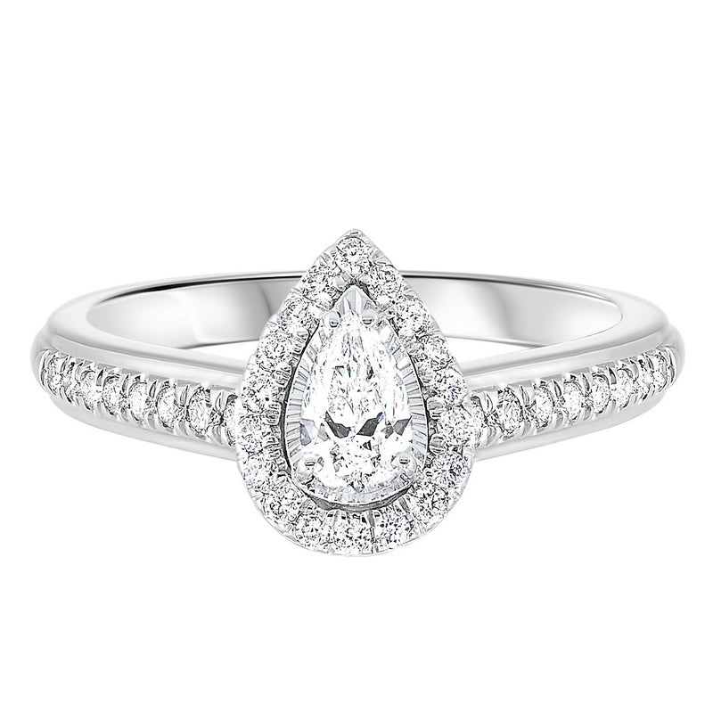 14K White Gold Tru-Reflections Pear Halo Prong Ring (3/5 ct. tw.)
