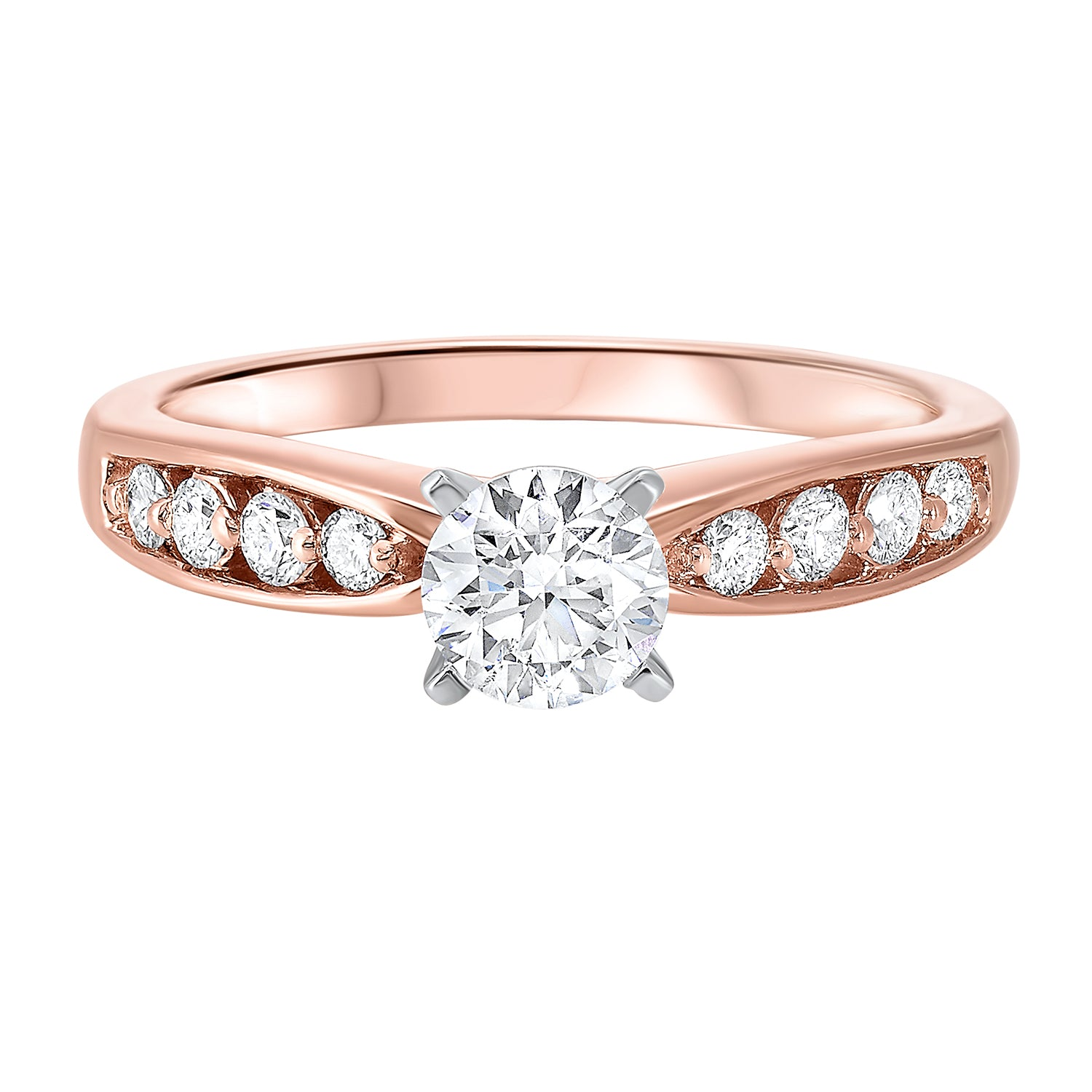 14K Rose Gold Prong Bridal Diamond Ring (7/8 ct. tw.)