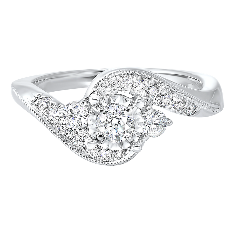 14K White Gold Cash&Carry Prong Diamond Ring (5/8 ct. tw.)