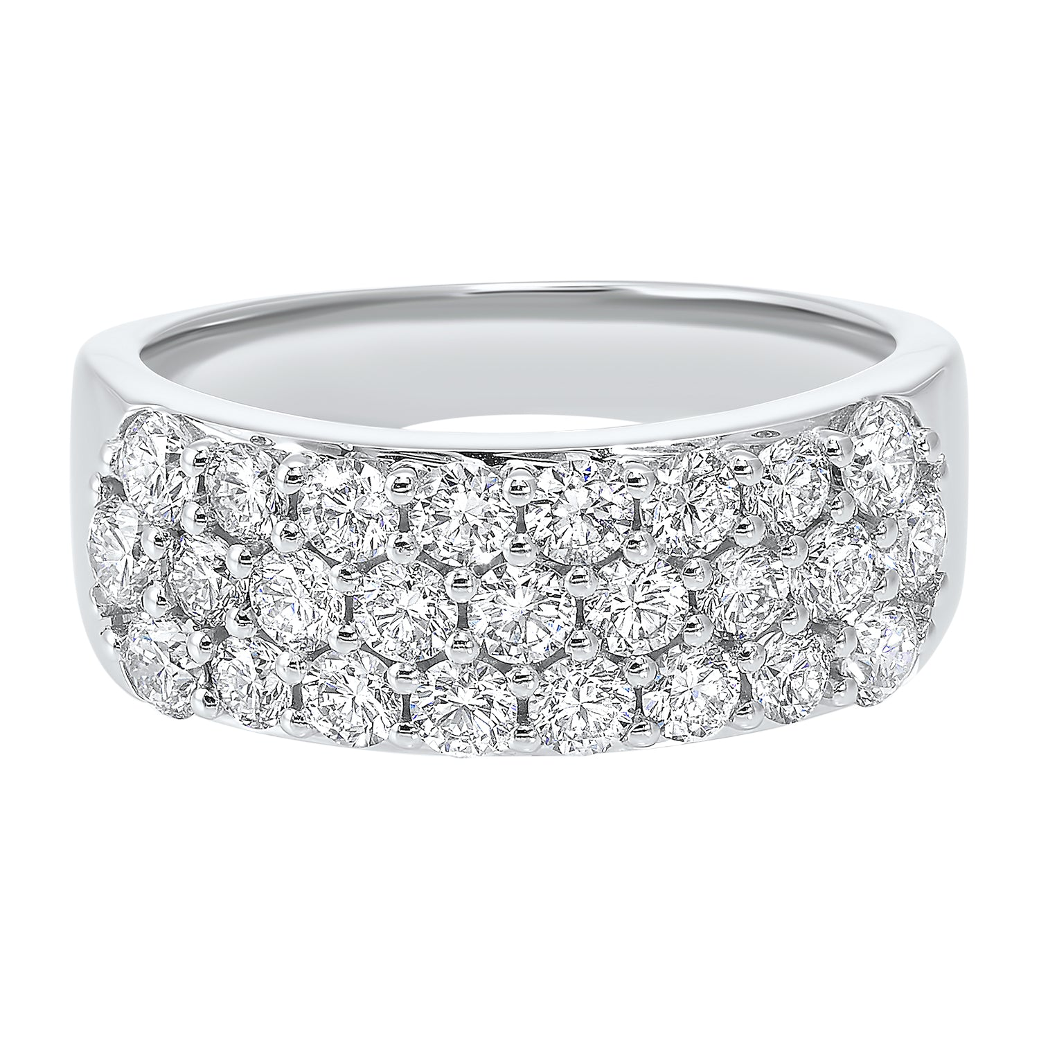 14K White Gold Multi Row Prong Diamond Band (1 1/2 ct. tw.)