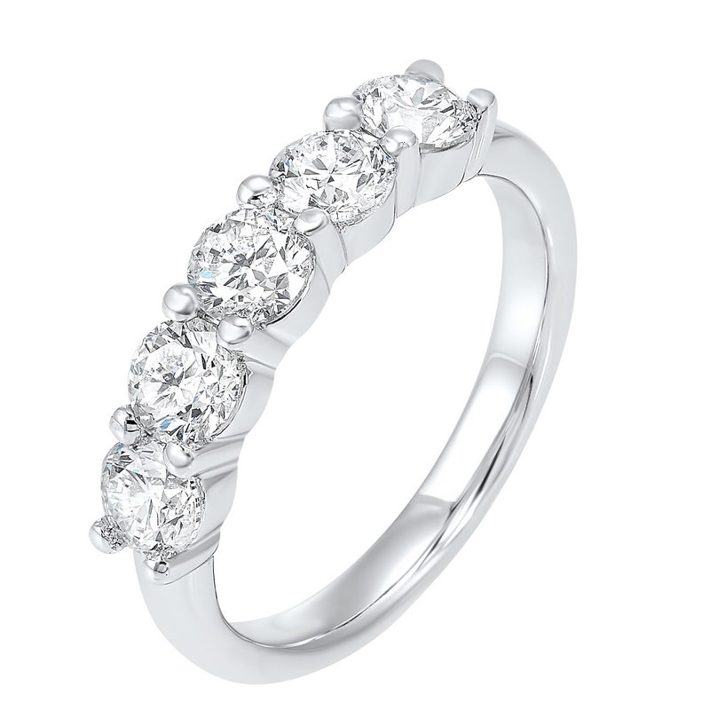 Five Stone Shared Prong Diamond Band in 14K White Gold (1 1/4 ct. tw.)