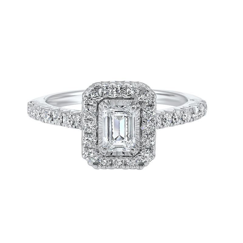 Emerald Halo Diamond Engagement Ring in 14K White Gold (1 ct. tw.)