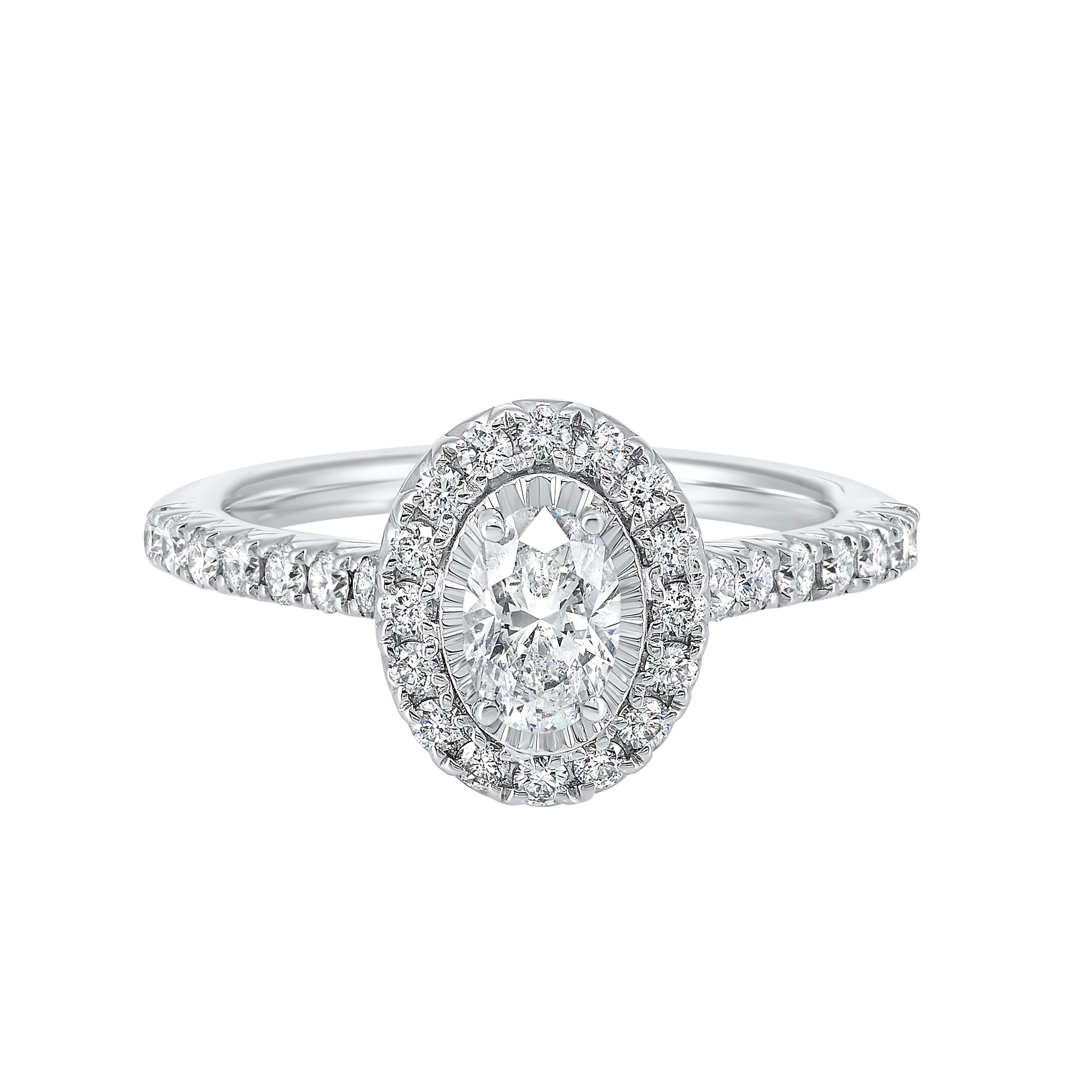 Oval Halo Diamond Engagement Ring in 14K White Gold (1 ct. tw.)