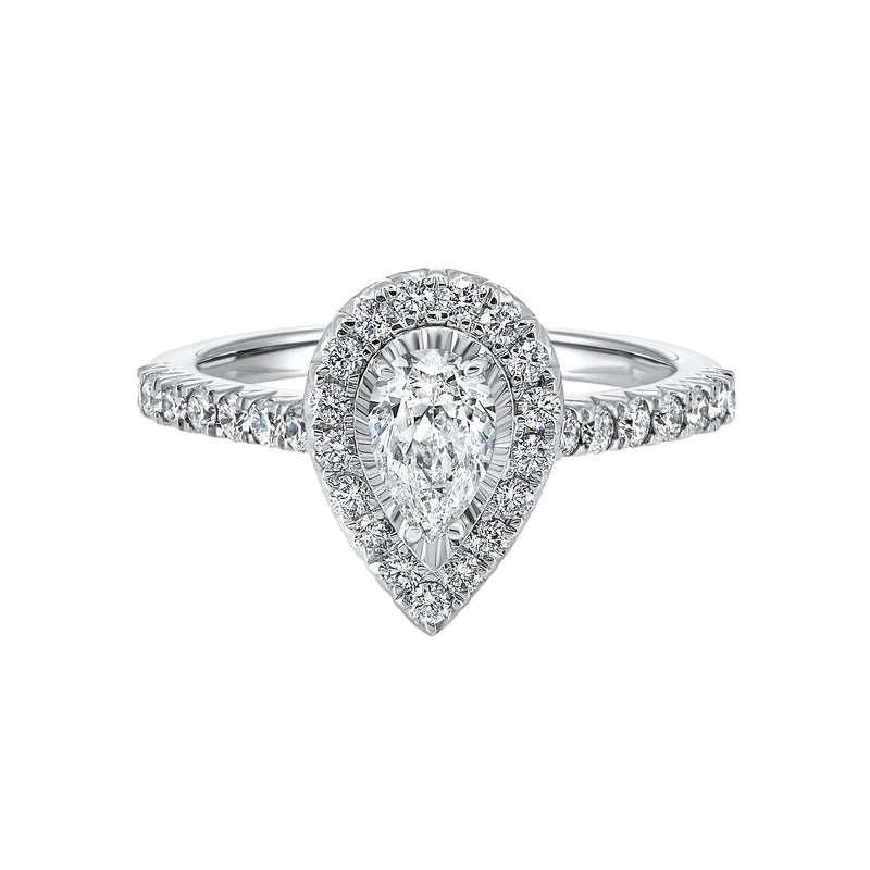 Pear Halo Diamond Engagement Ring in 14K White Gold (1 ct. tw.)
