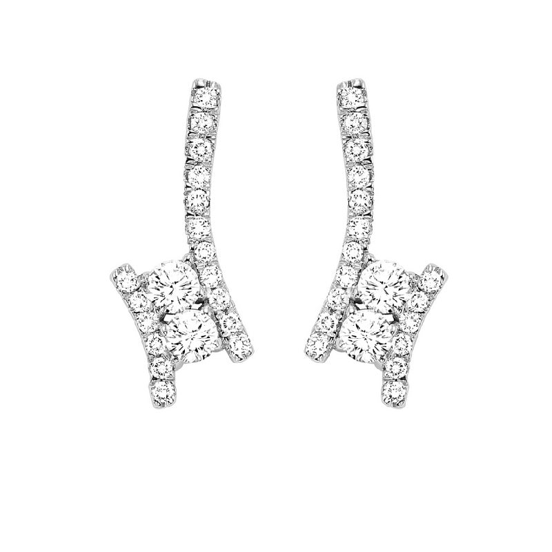 Twogether Diamond Drop Earrings in 14K White Gold (3/4 ct. tw.)