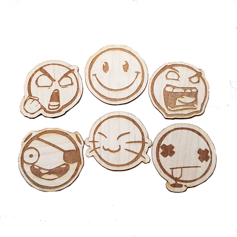 Wooden Stickers - Emoji Faces