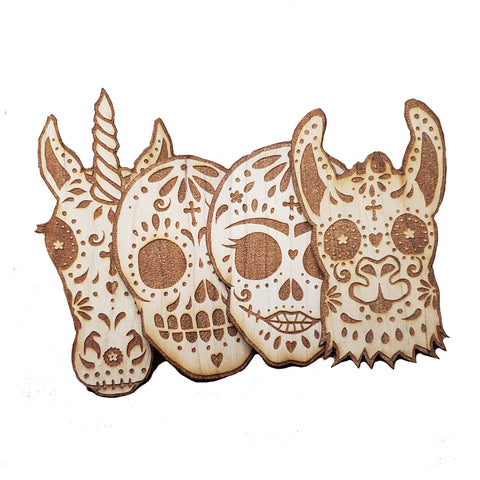 Wooden Stickers - Day of the Dead