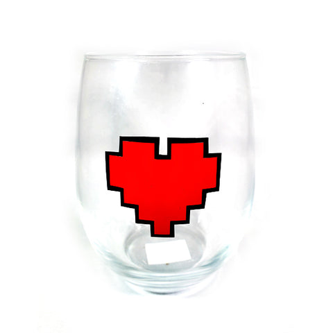 8 Bit Heart Stemless Wine Glass