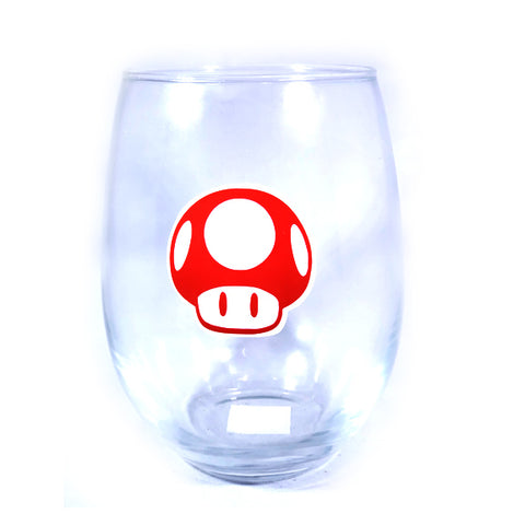 Red Mushroom Stemless Wine Glass