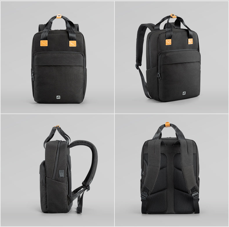 A detailed view of every angle of Kingsons men's multifunctional travel laptop business backpack