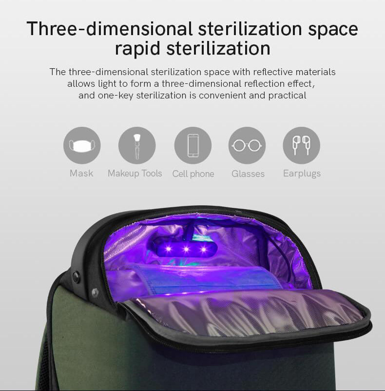 Kingsons backpack development technology shows that ultraviolet sterilization is a widely used sterilization method. Has the function of rapid sterilization. The three-dimensional sterile space with reflective material allows light to form a three-dimensional reflection effect. One-key sterilization is convenient and practical,Can store facial mask, makeup tools, mobile phone glasses, effective sterilization