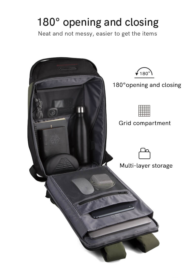 180° opening and closing, neat and not messy, easy to pick and place, multi-layer storage, reasonable storage of daily necessities. kingsons UV disinfection backpack