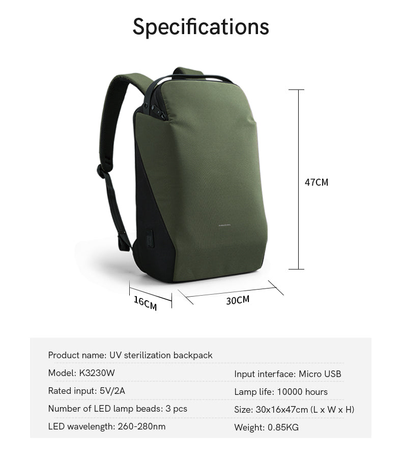 Specifications:Product name: UV,sterilization backpack,Model:K3230W,Input interface: Micro USB,Rated input: 5V/2A,Lamp life: 10000 hours,Number of LED lamp beads: 3 pcs,Size:30x16x47cm(Lx Wx H),LED,wavelength: 260-280nm,Weight:0.85KG、