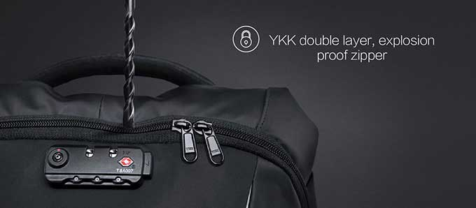 YKK double layer, explosionproof zipper,Made of special materials,Business anti-theft backpack - kingsons.com