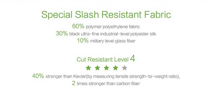 Special Slash Resistant Fabric 60% polymer polyethylene fabric 30% black ultra-fine industrial-level polyester silk 10% military level glass fiber Cut Resistant Level 4 40% stronger than Kevlar(by measuring tensile strength-to-weight ratio), 2 times stronger than carbon fiber,Business anti-theft backpack - kingsons.com
