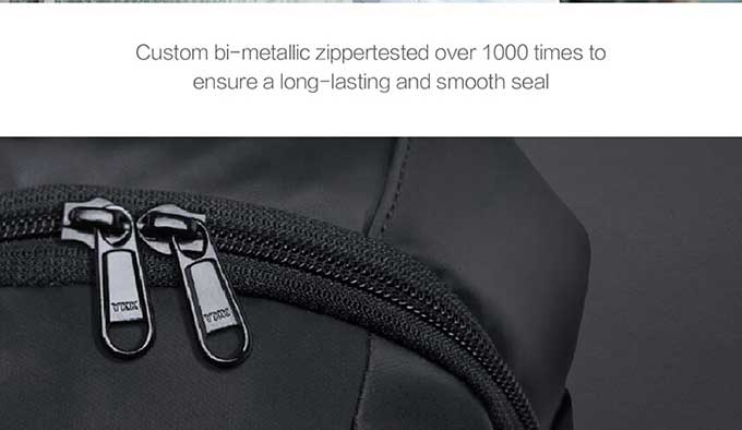 Custom bi-metallic zippertested over1000 times to,ensure a long-lasting and smooth seal,business anti-theft backpack-kingsons.com