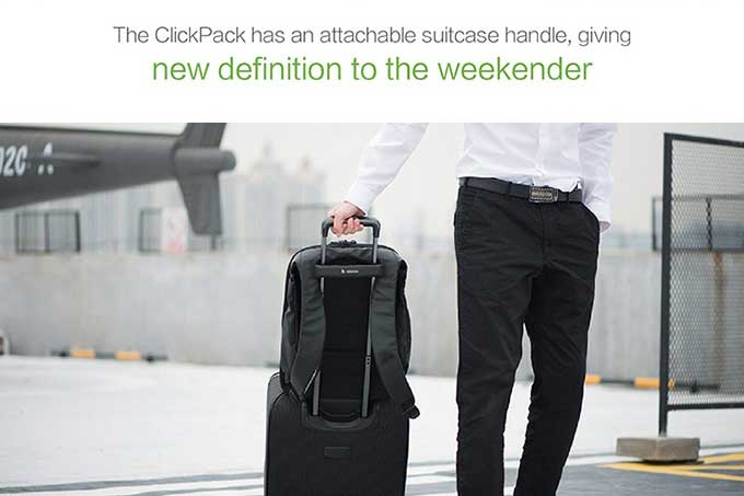The ClickPack has an attachable suitcase handle, giving,Business anti-theft backpack-kingsons.com
