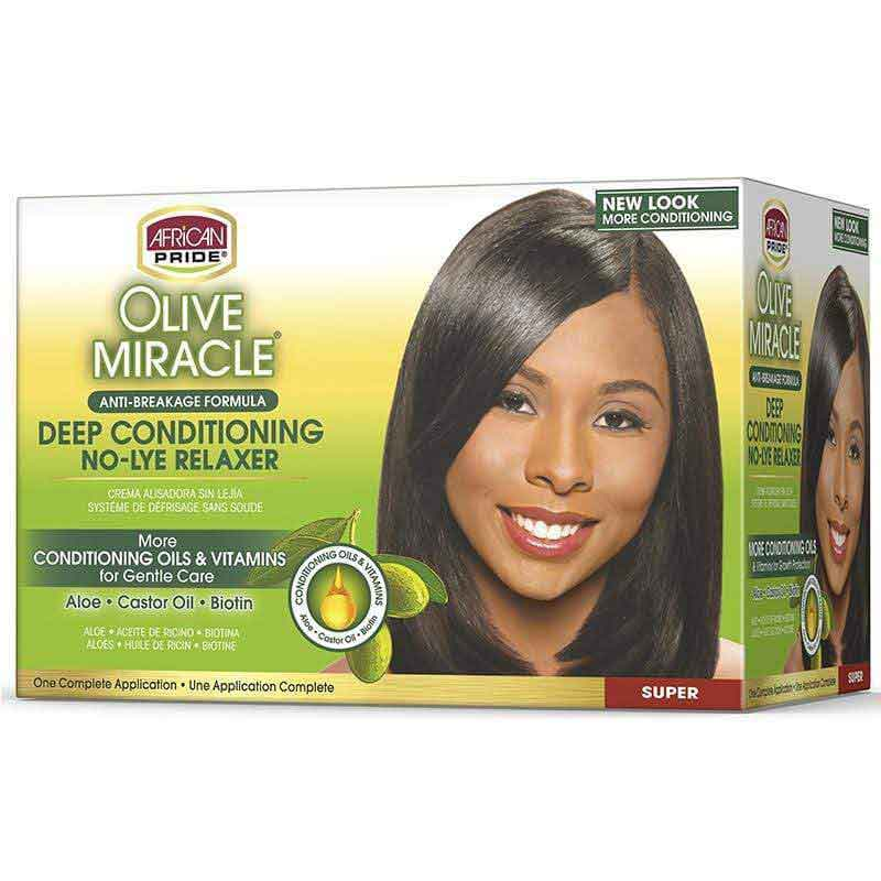 African Pride African Pride Olive Miracle Deep Conditioning  No Lye Relaxer, Super