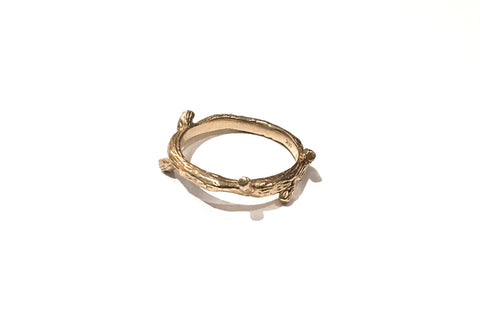 Branch ring in solid 14k yellow and rose gold (size 7)