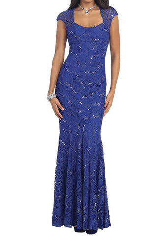 FF4921 LACE FITTED GOWN