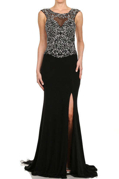 JT581 BEADED JERSEY GOWN