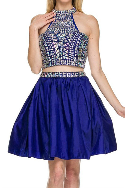 N6053 BEADED 2 PIECE PARTY DRESS