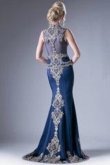 CD8946 BEADED JERSEY GOWN