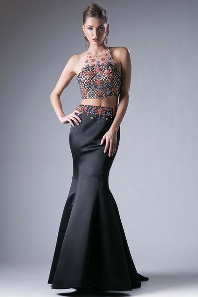 CD83688 BLACK 2PC GOWN