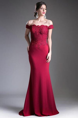 CDCF158 OFF THE SHOULDER JERSEY GOWN