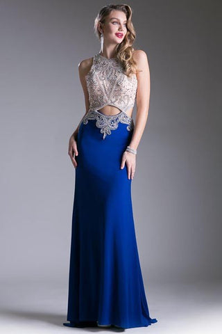CD71320 BEADED JERSEY GOWN