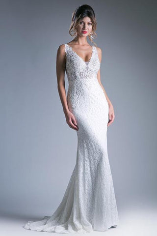 CDKC1757 WHITE BEADED MERMAID GOWN