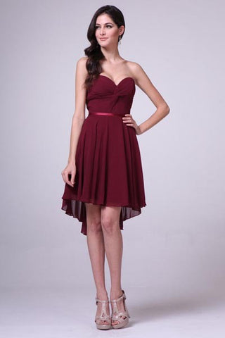 CD7456 CHIFFON KNOT HI-LOW DRESS