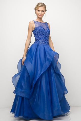 CD5177 ROYAL ORGANZA EMBROIDERED GOWN