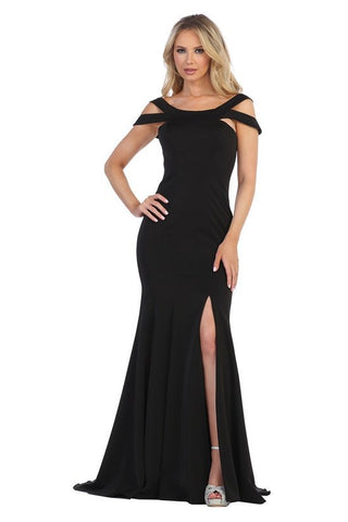 LF7210 JERSEY OFF SHOULDER GOWN